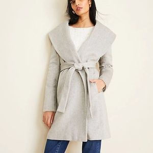 NWT Ann Taylor Herringbone Shawl Collar Wrap Coat